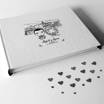 Libro de firmas personalizado con vuestras ilustraciones. Credits: Riterite