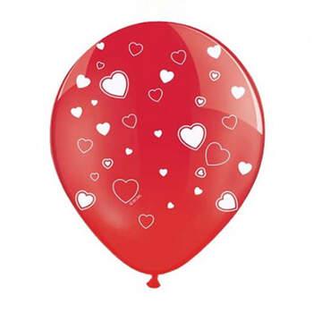 Globos rojos con corazones blancos 50 unidades- Compra en The Wedding Shop
