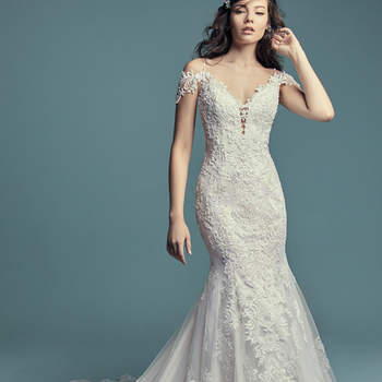 "<a href=""https://www.maggiesottero.com/maggie-sottero/della/11465"">Maggie Sottero</a>  Beaded lace motifs and Swarovski crystals cascade over tulle in this fit-and-flare wedding dress, featuring an illusion double-lace train. Beaded spaghetti straps complete the illusion plunging sweetheart neckline and illusion scoop back, both accented in lace motifs. Attached cold-shoulder sleves accented in lace motifs can be removed easily to fit a bride's preference. Finished with covered buttons over zipper closure."