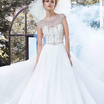 "Elegant glamour is found in this tulle ball gown, accented with a stunning illusion neckline, cap-sleeves, and daring scoop back, edged in sparkling Swarovski crystals. Finished with crystal buttons and zipper closure.   <a href=""http://www.maggiesottero.com/dress.aspx?style=5MW667"" target=""_blank"">Maggie Sottero</a>"
