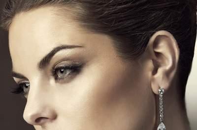 Aretes cortos de diamantes para novia colección Pronovias 2013