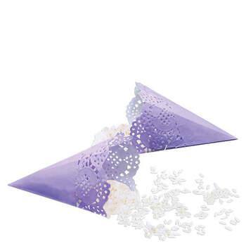 Foto: Cono papel lila para pétalos