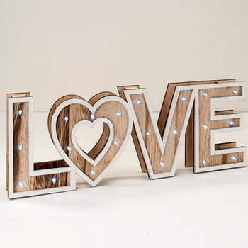 Letrero De Madera LOVE con Luz Led- Compra en The Wedding Shop