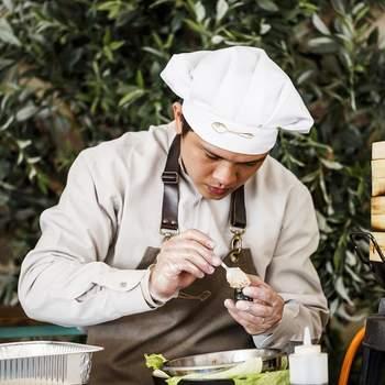 Asian corner. en finca La Muñoza con el Catering The Cook. Credits: Esif Fotografia
