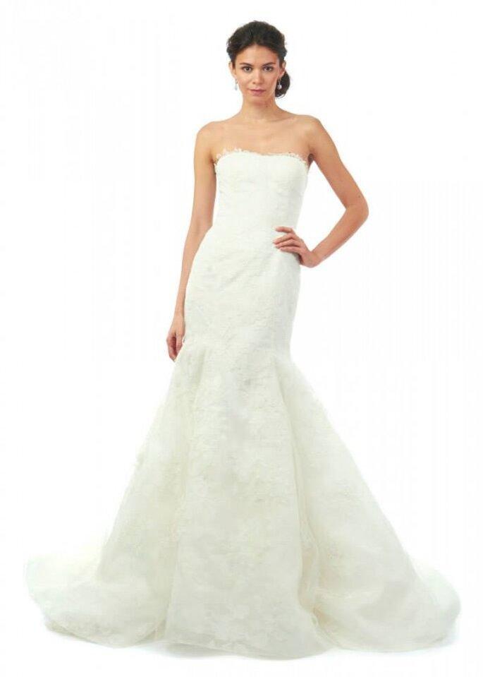Vestido de novia con escote strapless y corte sirena. Oscar de la Renta - Colección Otoño 2014