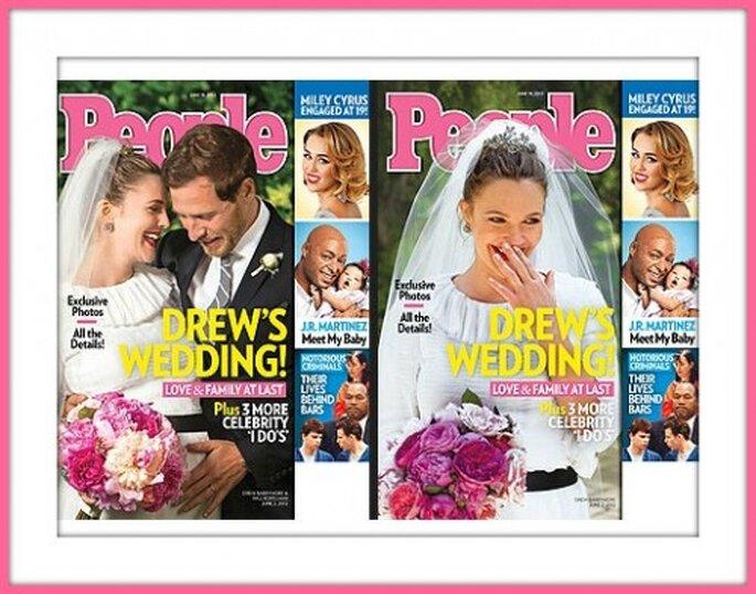 Drew Barrymore e il marito Will Kopelman in un momento del loro matrimonio. Foto: Copertina della rivista People.
