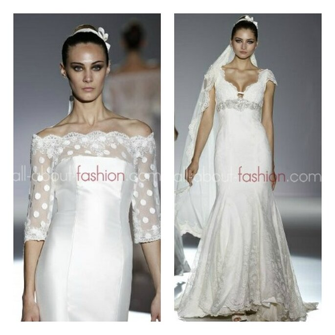 A gauche, robe col bateau, manches 3/4, dentelle et pois ; a droite, robe de mariée classique avec ceinture en strass. Photo: all-about-fashion.com