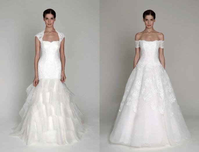 Vestidos de novia largos en color blanco con corte sirena e inspiración princesa de la colección Bliss - Foto Monique Lhuillier