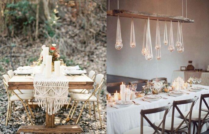mesas de boda macrame