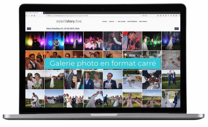 Un mac présentant une galerie photo en format carré