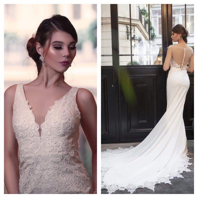 Robe de mariée avec une longue traîne et des touches de dentelle