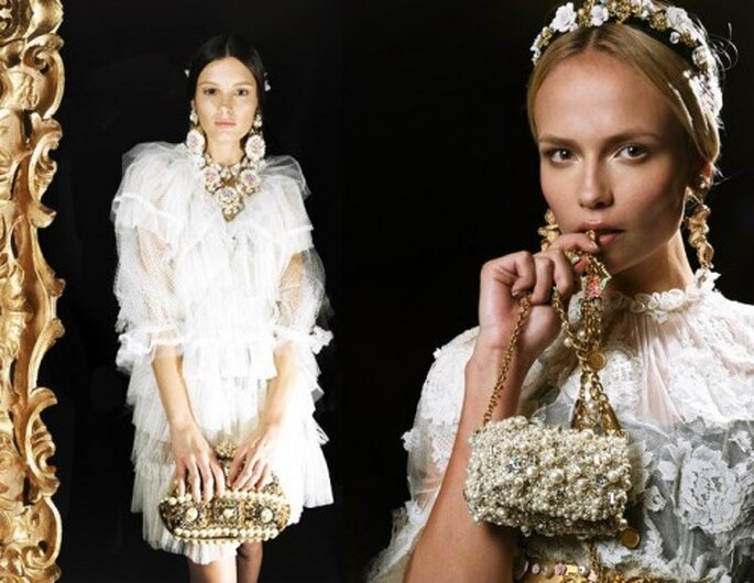 Bijoux de mariée d'inspiration baroque - Photo Dolce & Gabbana