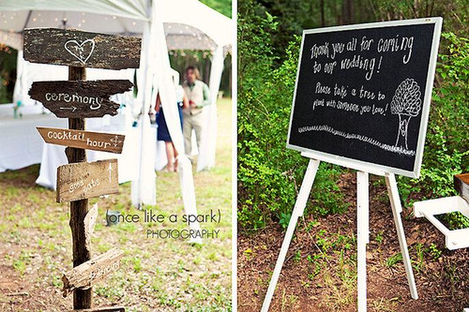 Rustikale Hochzeitsdekoration - Fotos: Once like A Spark Photography.