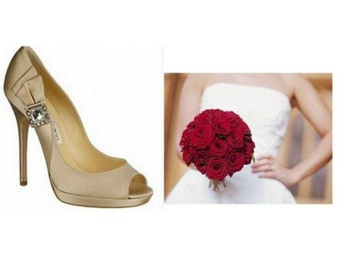 A sinistra Bouquet compatto di rose rosse; a destra open toe della Collezione Sposa firmata Jimmy Choo.