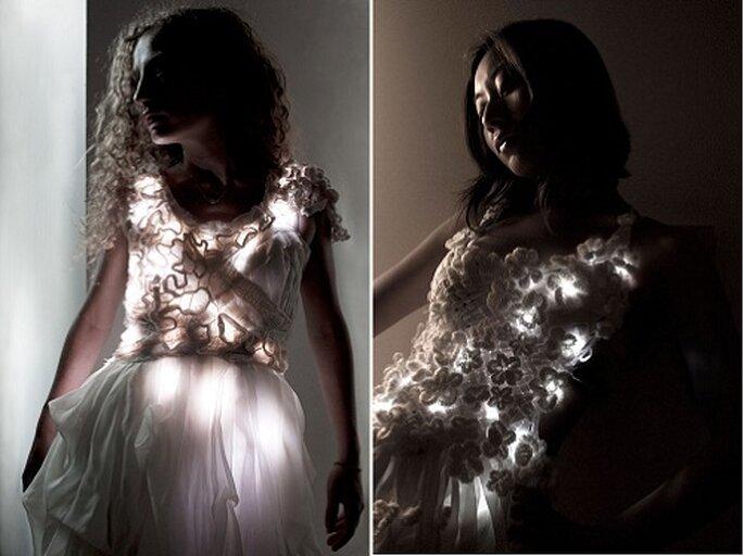 Las luces LED se integran en la creación nupcial. Fotos: Rhyme & Reason.