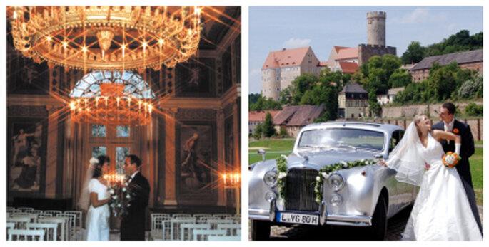 Links: Trauung im Schwindsaal. Rechts: Brautpaar und Hausoldtimer. Fotos: gnandstein.de