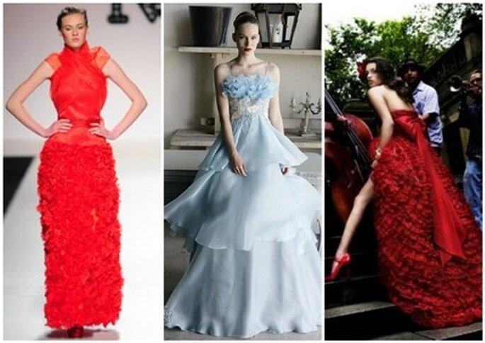Vestidos de Noiva vermelhos e azuis