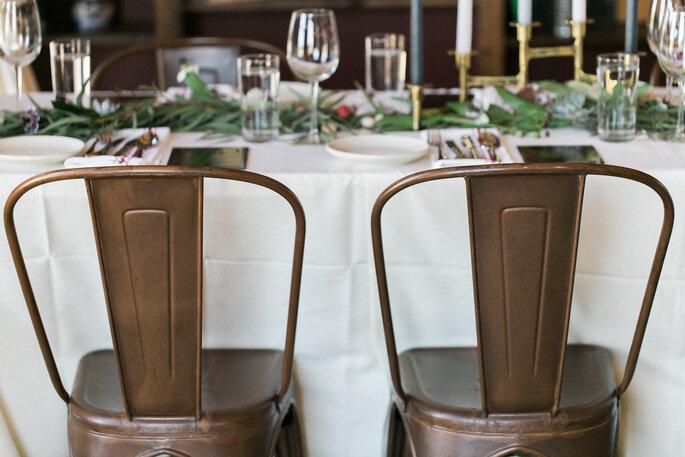 Hochzeitsdekoration Stühle aus Kupfer modern