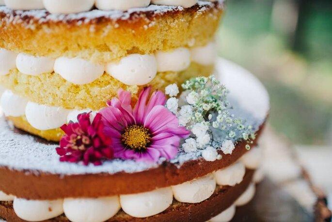 Blick auf Hochzeitstorte