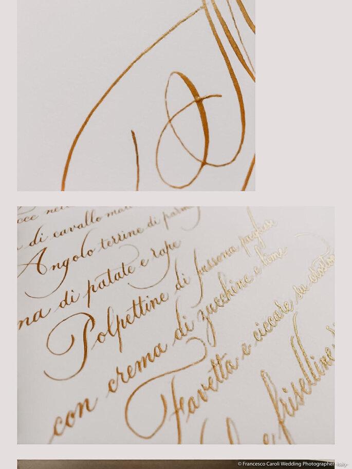 Dettagli del menù calligrafa da Beautiful Letters per presentare il prelibato buffet offerto da Giuvida Banqueting