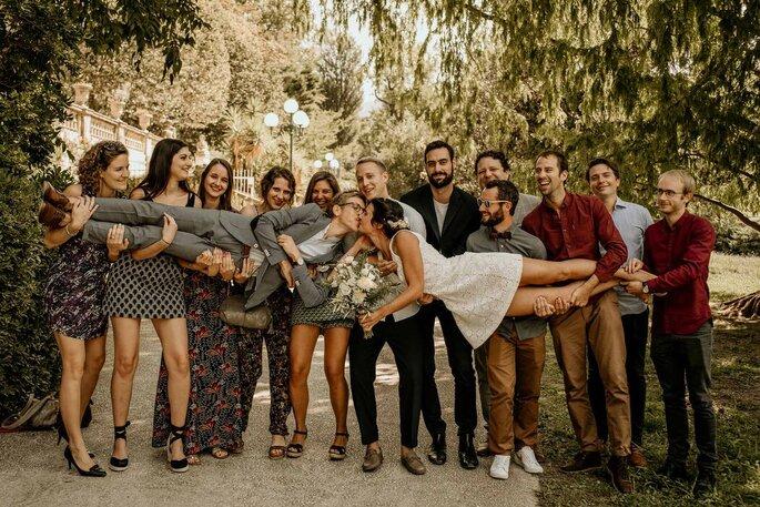 Photo mariage avec amis