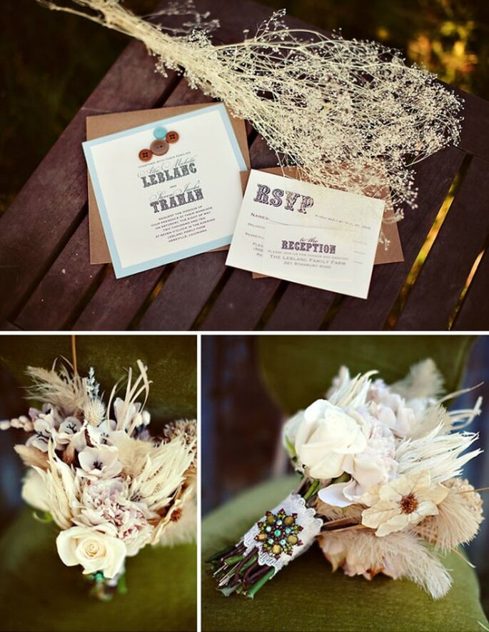 Decoración de boda estilo bohemian chic - Foto Courtney Dellafiora