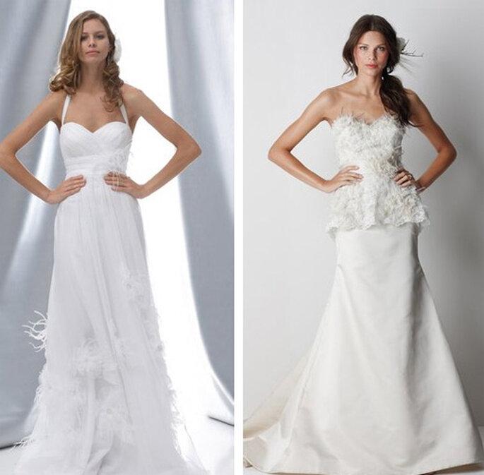 Vestidos de novia con adornos de plumas de Watters Brides