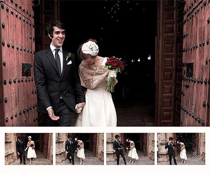 Marta se casó con un Isaac en un vestido de novia de Rita Glyndawood. Foto: Néstor R. Pardo