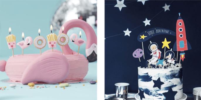 Bougies amusantes 6 pièces et Cake topper aventures dans l'espace 7 pièces