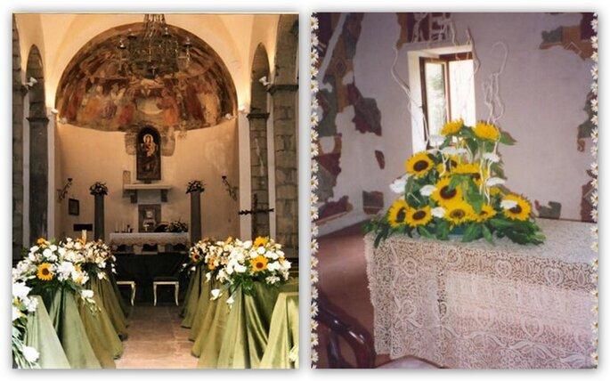 Girasoli Matrimonio Chiesa : Un matrimonio tinto di giallo decorare con i girasoli