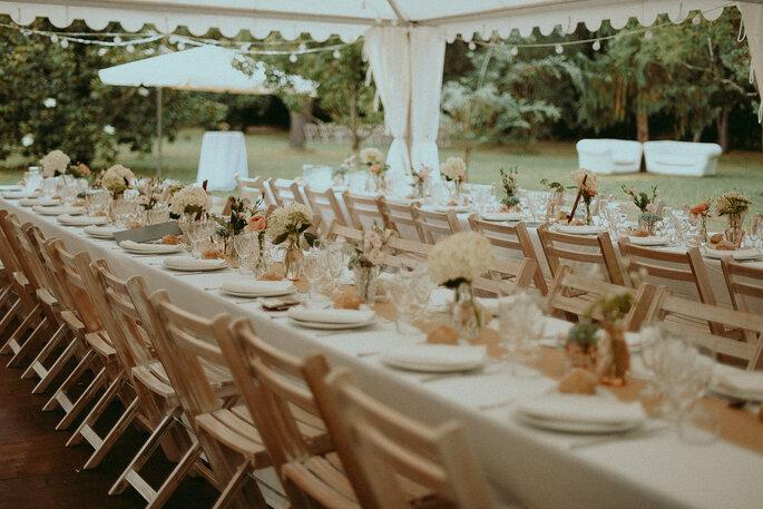 table de réception -mariage champêtre en Lot-et-Garonne dans le jardin familial