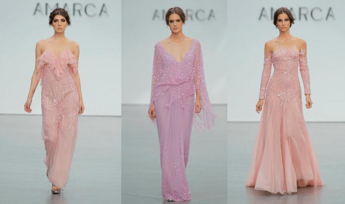 Roze feestjurken van Amarca. Credits: Pasarela Costura España.