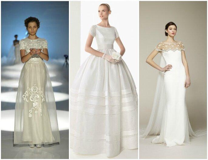 Une des grandes tendances 2013 : la robe de mariée à manches courtes. De gauche à droite : David Fielden 2013, Rosa Clarà 2013, Marchesa Bridal Collection 2013.