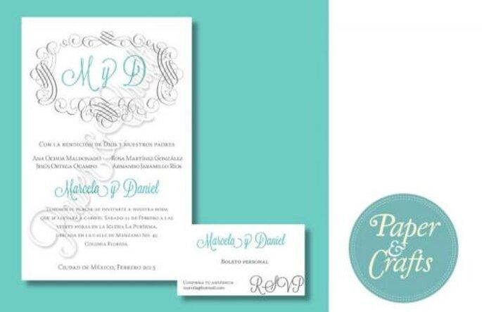 Invitación de boda en México con base en color menta - Foto Paper & Crafts
