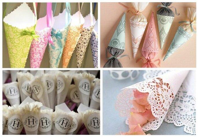 Coni portariso per tutti i gusti. Foto: http://factorydirectcraft.com, http://realwedding.co.uk, http://tworingstudios.com, www.marthastewartweddings.com