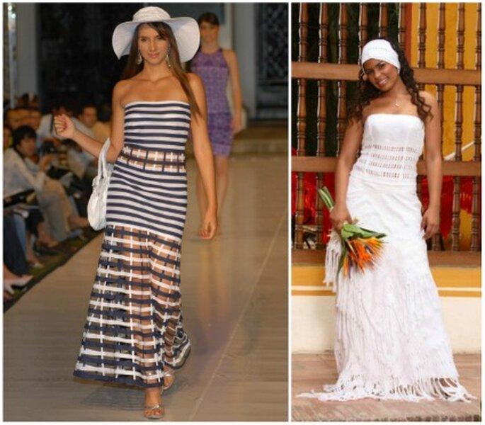 Vestido para fiesta  y vestido de novia.  Foto: María del Pilar Agámez