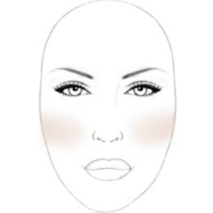 Le blush s'applique horizontalement pour les mariées au visage long