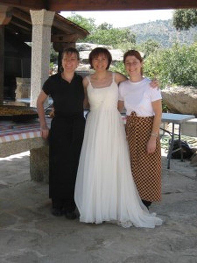 Las Gabrielas, encargadas del menú vegetariano, y la novia