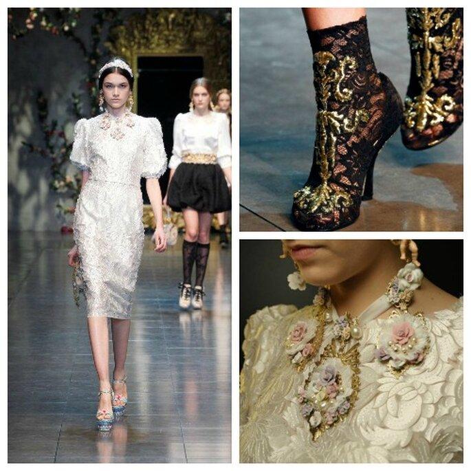 El encaje es una de las tendencias otoño-invierno 2012-2013. Foto: Dolce&Gabbana