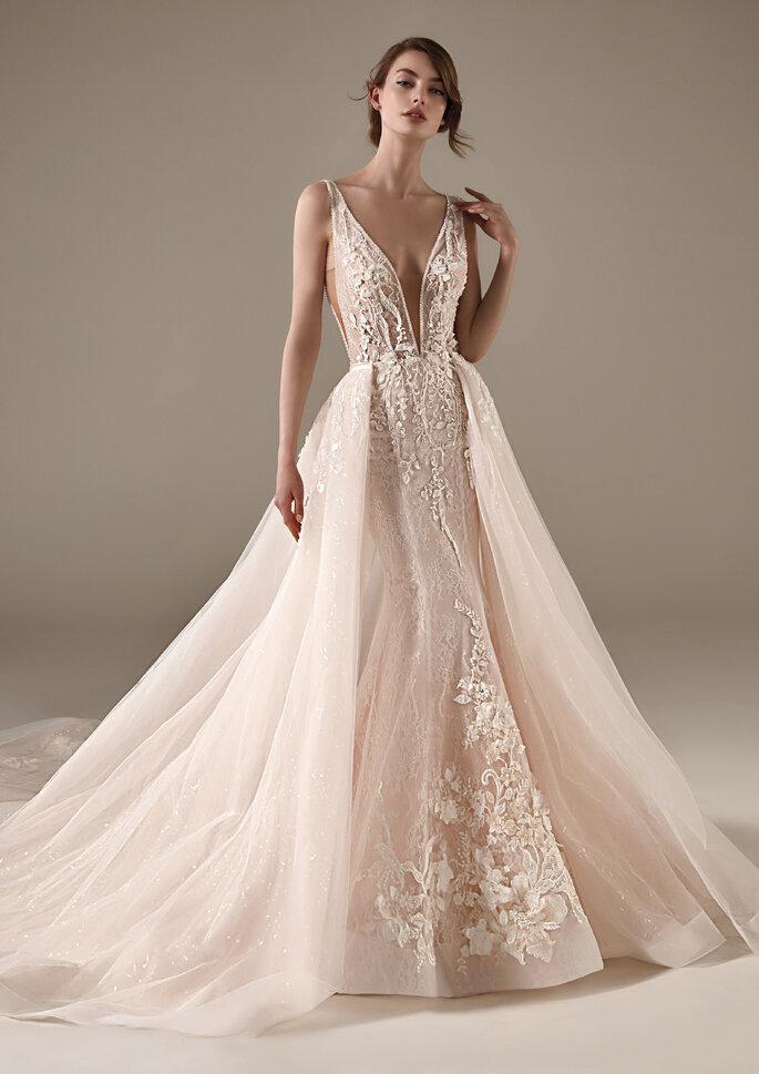 Vestido de novia sexy con escote profundo V, rosa empolvado