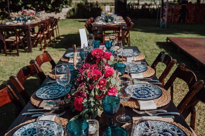 Decoración de las mesas del banquete