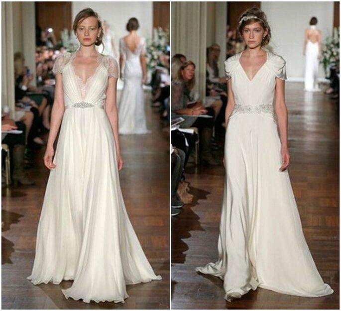 Deux robes de mariée fluides avec décolleté en V, de quoi ressembler à une déesse grecque ! Jenny Packham automne 2013. Photo: www.jennypackham.com