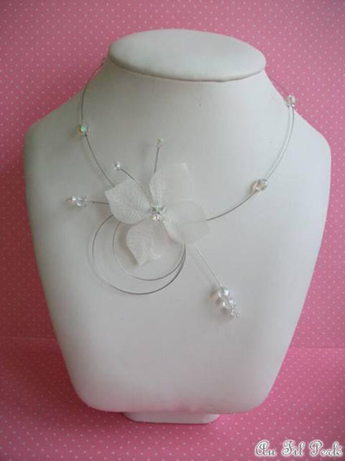 Collier de mariée papillon ivoire Au Fil Perlé