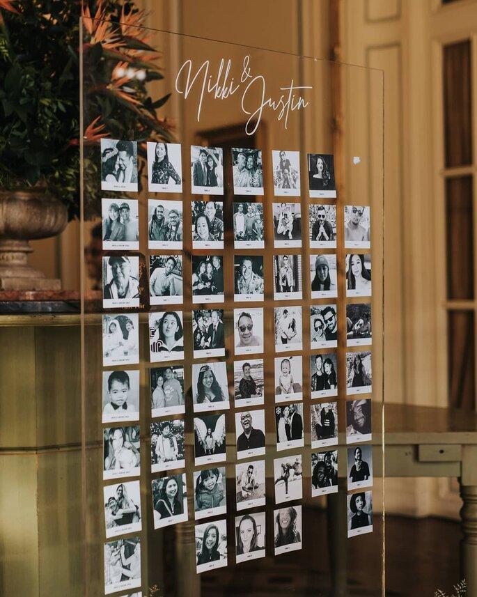 seating plan muito original com as fotografias dos convidados
