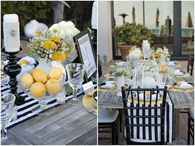Una decoración con rayas en tu boda - Foto Stephanie Saul Photography