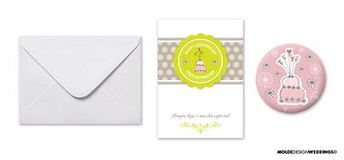Postais para Aniversário - Moldes Design Weddings