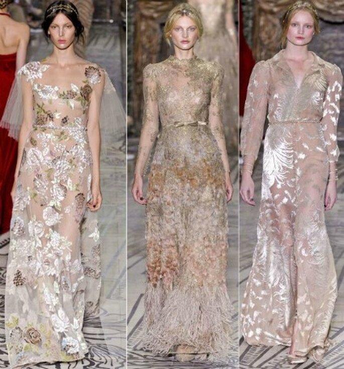 Estilo de Valentino se expresa en estos tres vestidos a la enésima potencia de la colección de Alta Costura 2011-2012