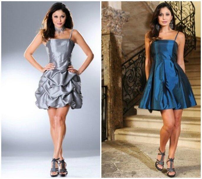 """Due abiti corti con attualissimo effetto """"cangiante"""". Foto www.bonprix.it"""