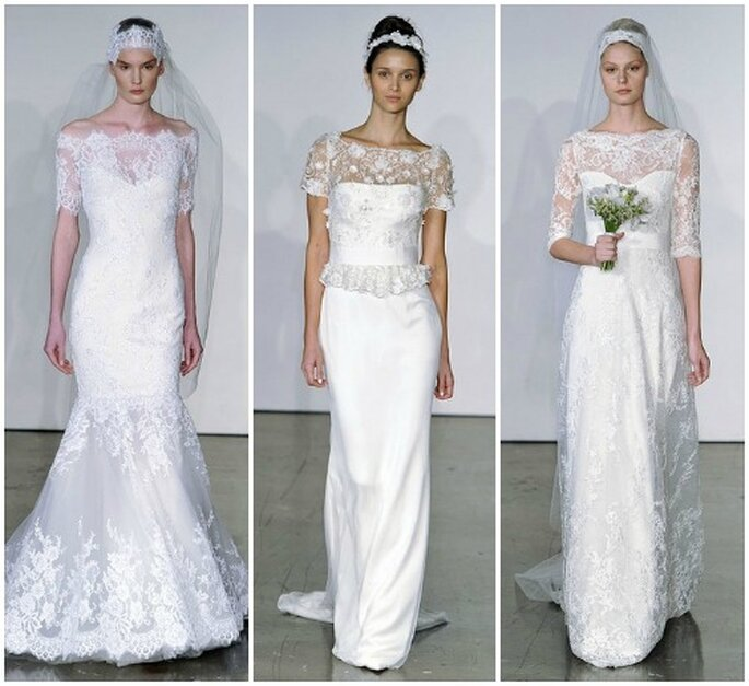 Proposte in pizzo, sempre di gran tendenza.Marchesa Fall 2013 Bridal Collection. Foto: www.marchesa.com