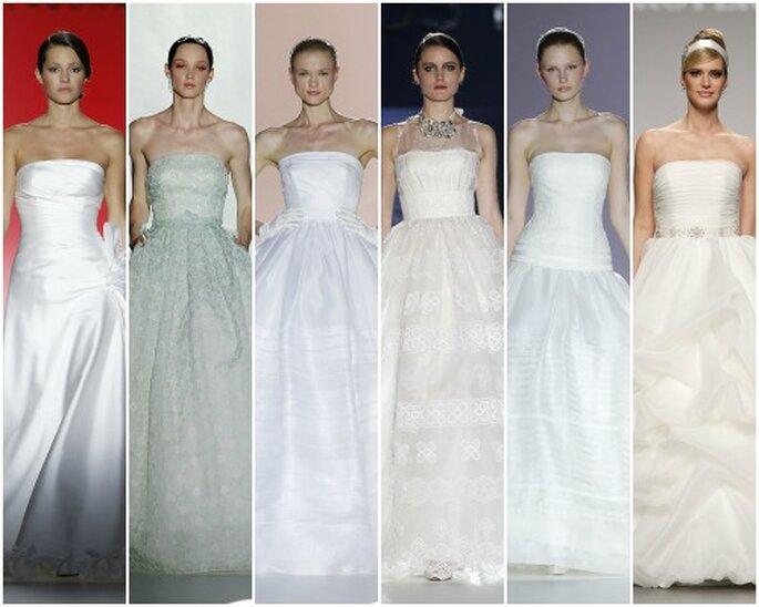 Vestidos de novia con escote palabra de honor, colecciones 2013. Foto: Barcelona Bridal Week/ IFEMA